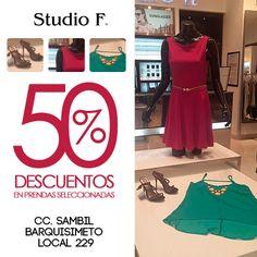 Visita nuestra tienda Studio F Barquisimeto y disfruta del 50% en prendas seleccionadas, blusas y vestidos.