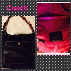 Authentic black Coach bag with hot pink lining Authentic black Coach bag with hot pink lining! Like new condition! Coach Bags