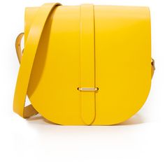 Cambridge Satchel Saddle Bag ($175) ❤ liked on Polyvore featuring bags, handbags, shoulder bags, riviera yellow, shoulder strap bag, yellow purse, genuine leather shoulder bag, genuine leather handbags and leather shoulder handbags