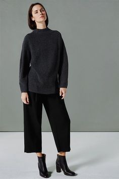 mock neck grey ribbed sweater, cropped black pants & ankle boots #style #fashion #fall