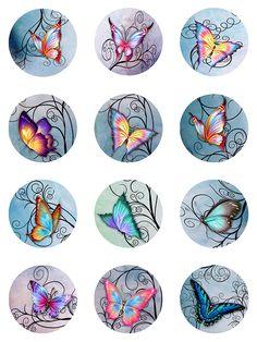Mariposas remolinos Pastel papel de acuarela por pixeltwister