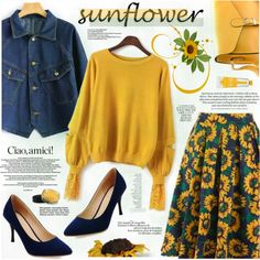 Sunflower by katjuncica on Polyvore featuring moda, Inglot, Skin&Co Roma, H&M, By Terry, CENA, Pumps, denimjacket, sunflowerprint and yellowsweater