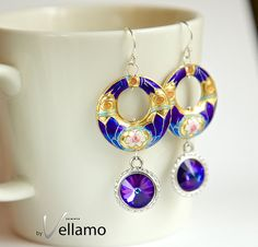 Dangle modern statement earrings with large cobalt by byVellamo, $25.00
