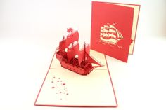 Boat/Ship. Hand made. Beautifully hand crafted to its finest details. ONLY €5.00. www.3dpopupcards.com
