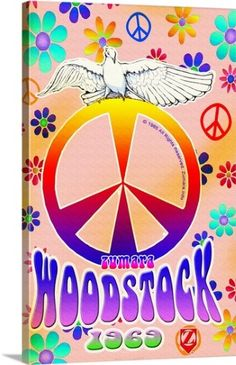 Solid-Faced Canvas Print Wall Art Print entitled Woodstock Peace Bird None Canvas Wall Art, Wall Art Prints, Framed Prints, Canvas Prints, Woodstock Poster, Peace Bird, Birds 2, Cute Illustration, Autumn Leaves
