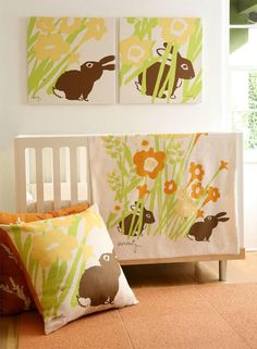 """More nature theme...  the Amenity nursery pattern called """"Meadow"""", though I'm not sure if it's still carried  http://weedecor.com/2010/01/modern-baby-nursery-decorating/"""