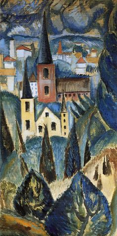 Landscape with church spires and trees. Max Weber (1991-1961) was a Jewish-American painter and one of the first American Cubist painters who, in later life, turned to more figurative Jewish themes in his art. Here you see the beginning of cubism in his paintings.