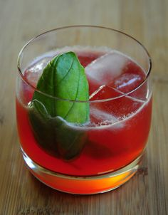 Strawberry Basil Cocktail, made with @Starbucks Strawberry Lemonade Refresher.