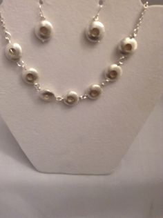 21 inch brushed sterling silver doughnut style beads  necklace with matching earrings by LisaWiedebushJewelry on Etsy
