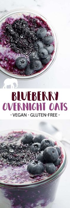 Recipe for vegan and gluten-free Blueberry Overnight Oats. Prepare the oats the day ahead and top with warm blueberry sauce the next morning. Vegetarian Breakfast, Delicious Vegan Recipes, Vegan Snacks, Healthy Breakfast Recipes, Raw Breakfast, Vegan Sweets, Healthy Cooking, Brunch Recipes, Breakfast Ideas