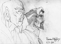Rasmus B Najbjerg. Pencil. Drawing from the marvel cartoon Doctor Strange. Doctor Strange stands beside the ancient one.