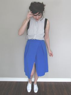 midi skirt outfit inspiration #ootd #outfit #inspiration #blue #midi #skirt #pleated #fashion #blogger