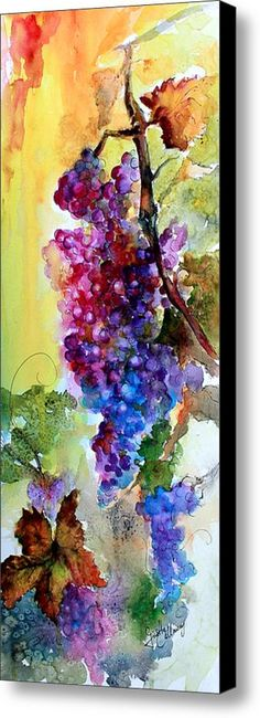 Wine Grapes Burgundy In Sunlight Canvas Print / Canvas Art By Ginette Callaway