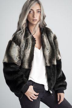 Elise Faux Fur Bomber Jacket