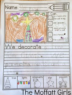 """How to help BEGINNING or STRUGGLING writers succeed with daily journal prompt writing!  They can assess their own writing with the """"I Can"""" statements on the left and there is an ILLUSTRATED WORD BANK!"""