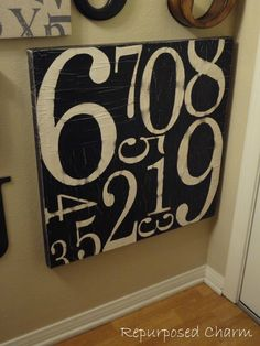 Repurposed Charm: Potterybarn Number Canvas Knock-Off