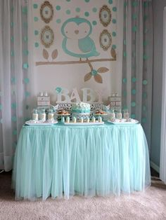 "Turquoise Owl ""Welcome Home Baby"" Party via Kara's Party Ideas   KarasPartyIdeas.com (5)"