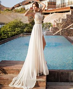 2015 new white/Ivory Beach Bridal Gown Wedding Dress Custom Size 6 8 10 12 14 16