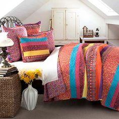 Boho Fuchsia Stripe Five Piece Full/Queen Quilt Set Lush Decor Quilt Set Quilts & Bedsprea