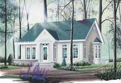 European House Plan with 1066 Square Feet and 2 Bedrooms from Dream Home Source | House Plan Code DHSW15345