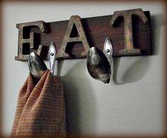 Kitchen+Decor+EAT+Sign+Towel+Holder+Repurposed+by+thREegreenart,+$22.00  Love, Love, LOVE this kitchen towel holder! How cute!!
