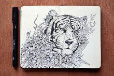 Ilustrações em Moleskine de Kerby Rosanes