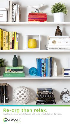 Beautiful bookshelves, design ideas for organizing small spaces.  Help for moms
