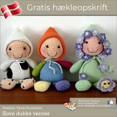 Mon ikke ethvert lille barn vil elske de hæklede dukke sove-venner? Hækleopskriften på de dejlige dukker er selvfølgelig gratis og på dansk!