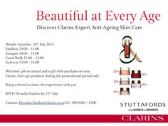 Discover Clarins Expert Anti-Ageing Skin Care at a Stuttafords store near you on 26 July. Bring A Friend, Ageing, Anti Aging Skin Care, Beauty Hacks, Store, Beautiful, Coming Of Age, Beauty Tricks, Business