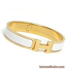 Hermes Clic Clac H Narrow Bracelet -white and gold