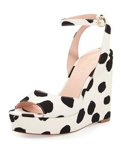 dellie+polka-dot+wedge+sandal,+black/white+by+kate+spade+new+york+at+Neiman+Marcus.