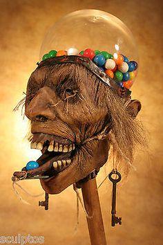 Kuebler-Real-Gumball-Machine-Human-Skull-Shrunken-Head-Zombie-Tattoo-Oddity