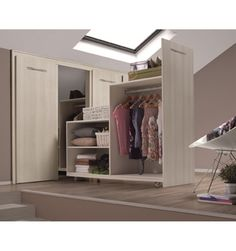 Attic wardrobe slanted ceiling