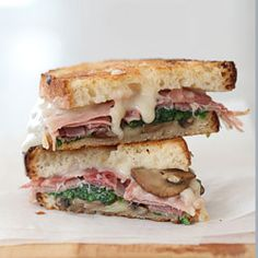 Gooey Truffled Mushroom with Prosciutto and Tallegio Grilled Cheese    okay this might be one of the most ornate sandwiches I have seen
