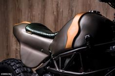 "Officine GP Design presents ""Indomabile"" a motorbike with the saddle in eel skin, supplied by Foglizzo Leather. #FoglizzoLeather #bespoke #leather #eel #officinegpdesign"