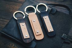 Stamp Leather Keychain Personalized Monogram Leather by AliceandBo