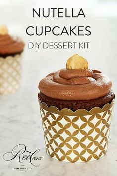 We used an Italian pantry staple to create this rich hazelnut cupcake recipe. Dark chocolate cake is topped with Nutella and a roasted hazelnut. Ciao bellisima! Includes 24 oven-safe white and gold cu