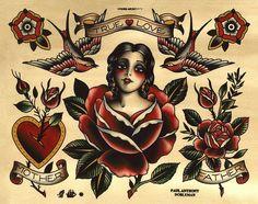 True Love Tattoo Flash, Sweetheart Tattoo Flash, Swallow Tattoo Flash, Rose Tattoo, Spider Murphy's Tattoo Flash