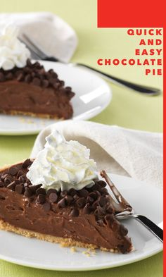 Sinfully delicious. Rich and creamy. Easy as…well, you know. You're just six ingredients and three simple steps away from having your own fan club when you delight guests with this Quick & Easy Chocolate Pie.