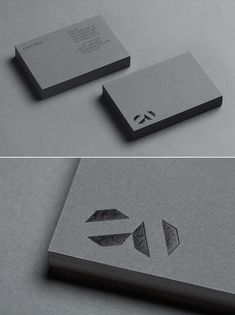 Black foil stamp on grey card _ Octovo business cards, Jeremy Matthews, Ammunition