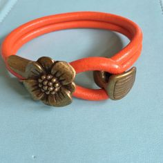 Brass Flower and Orange Leather Bracelet