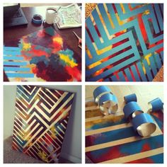 DIY painting -- paint canvas with colors, tape design with painters tape, spray paint over tape, peel back tape & ta-dah...instant art