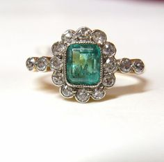 Vintage Art Deco 18ct Gold and Platinum Diamond and Emerald Ring