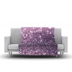 "Debbra Obertanec ""Lavender Sparkle"" Purple Glitter Fleece Throw Blanket"