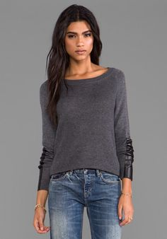 Feel the Piece Waffle W/ Leather Patch Sweater in Charcoal/Black