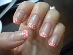 Polka dot gel nail art