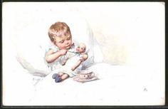 Vieux-artistes-AK-Karl-jour-ferie-enfant-au-lit-nourrit-une-poupee-1913