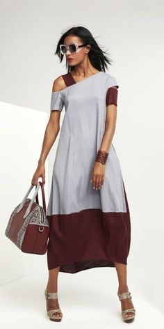 Oblique Grey-Claret Panel Dress