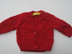 """Cherry red sweater with textured pattern. To fit 16""""(40cms) chest, approx 3-6 months. Hand knitted baby jacket. by Nobodyknitsitbetter on Etsy"""