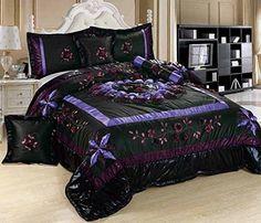 Tache 4-6 Piece Midnight Lily Pond Patchwork Comforter Quilt Set